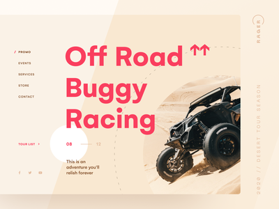 Off Road Buggy Racing web design figma digital about site clean color web concept ui promo