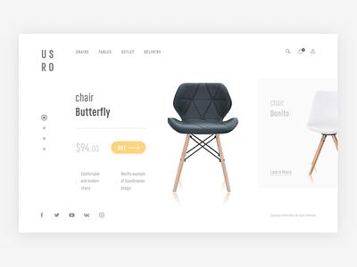 Promo site for furniture sales page ux ui promo web design clean concept chair