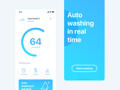 Auto Washing In Real Time promo car wash clean color concept ux ui app design
