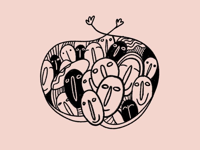 Community illustration art illustrations coffeeshop sustainability poverty community farmer coffee bean coffee graphic concept identity illustration