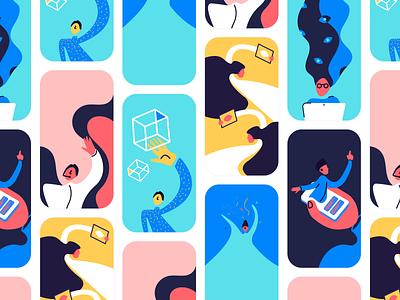 Criss Cross referencing branding tech education digital character vector handmade style animation screen people web app illustration