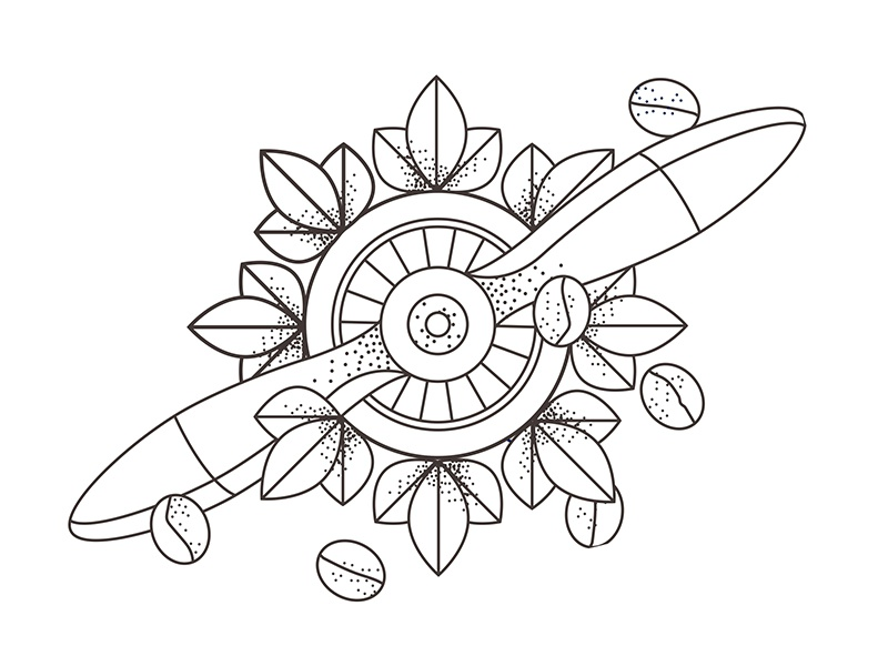 Closer look label coffeebean airplane propellor skecthes drawing pointillize linework graphic pen illustration
