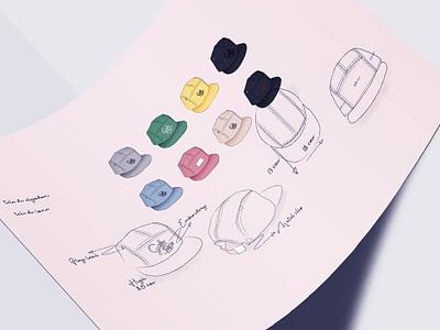 Concept Sketch Caps color graphic cap product design concept illustration