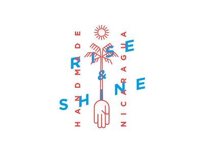 Rise & Shine packaging linework vector monoline blue wordmark mark logo icon line concept design letter coffee typography color graphic identity illustration branding