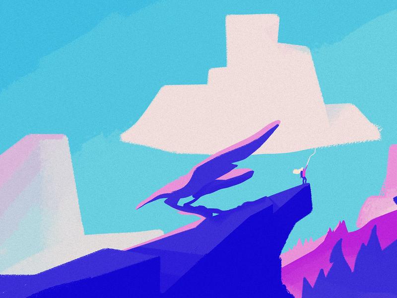 The Cloud girl sunset mountain cloud computing invites landscape illustration cloud