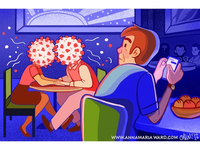 2020 Dining food dating date restaurant corona virus covid 19 cartoon illustrator illustration editorial illustration