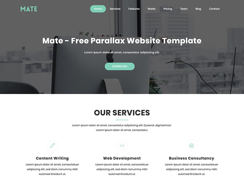 Mate - Free Parallax Bootstrap HTML Website Template by UIdeck ...