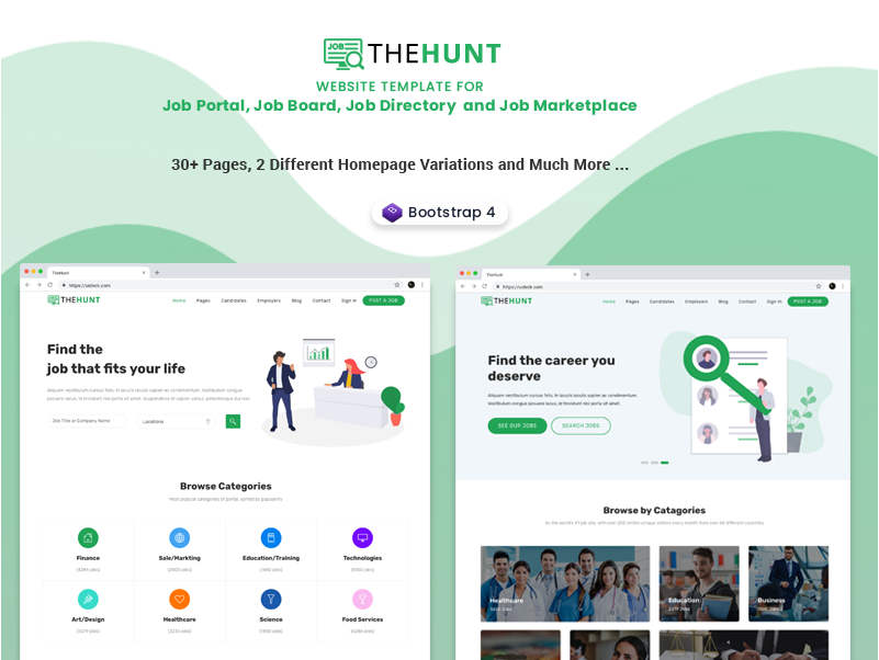 thehunt job portal and job directory website template by uideck