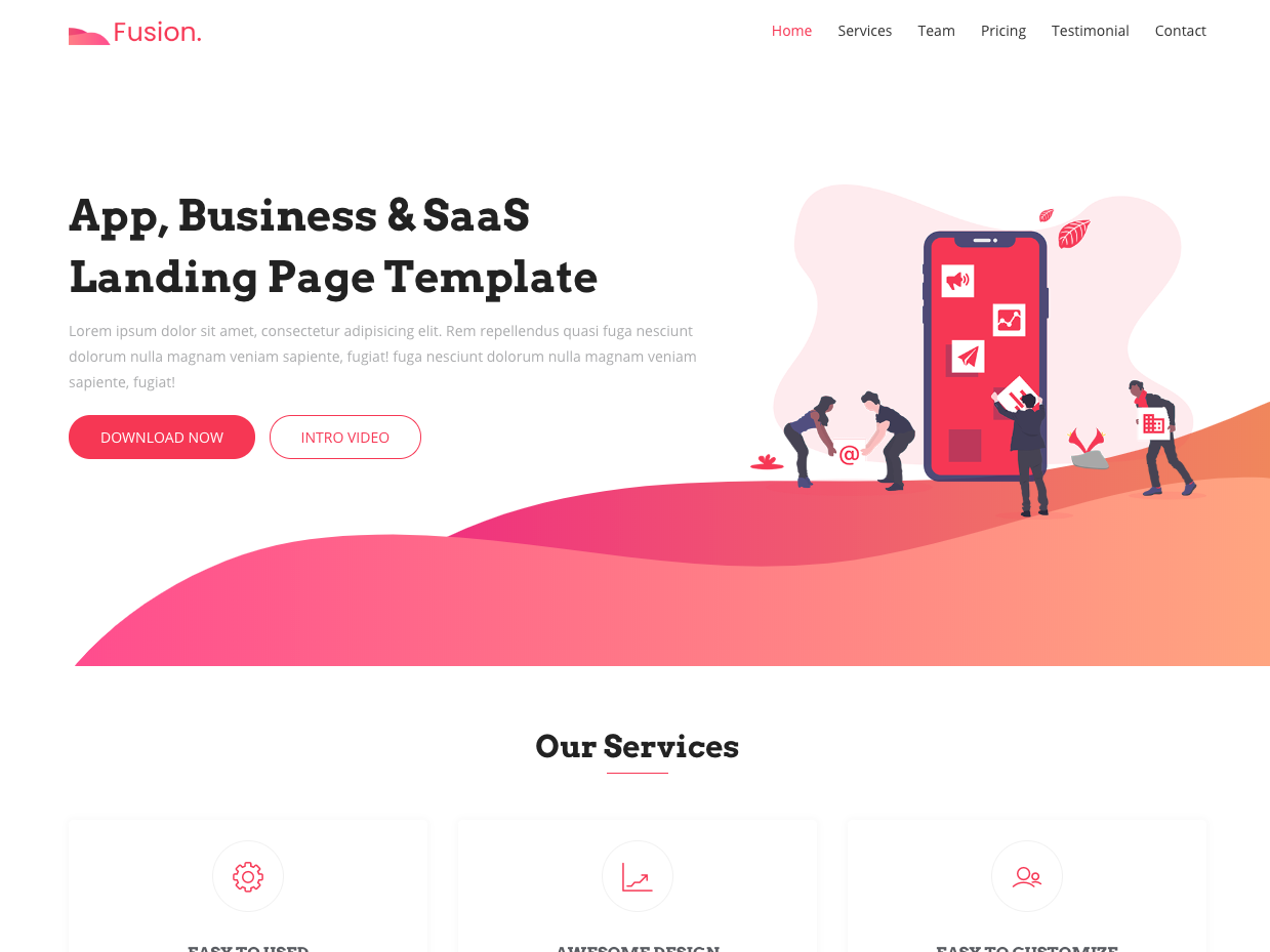 Fusion Free Bootstrap 4 Landing Page Template By Uideck On