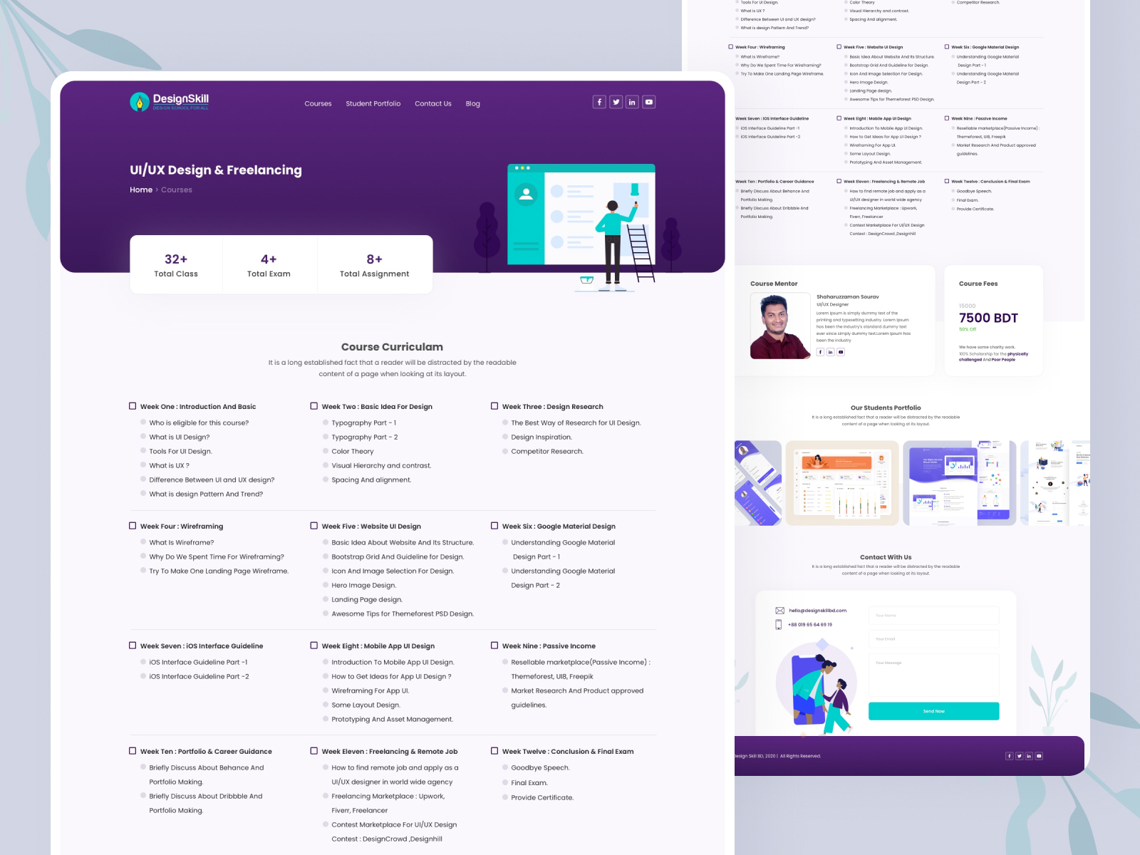 Design Skill Course Details Page By Shaharuzzaman Sourav On Dribbble