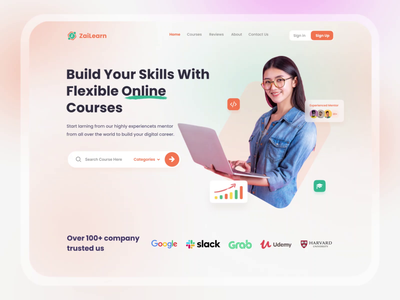 Online Learning Website education app learning management system website ui animation landing page online courses lms learning
