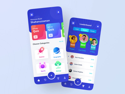 Quizai - Quiz/Learning iOS Mobile App UI multi player motion app app animation ios app question answer game game ui leaderboard mobile app ui quiz game learning app quiz quiz app