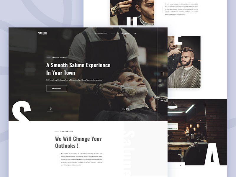 Salune - Barber Shop Website UI by Shaharuzzaman Sourav for