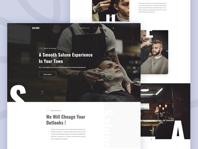 Salune - Barber Shop Website UI ux minimal creative website ui hair studio salune shop barber