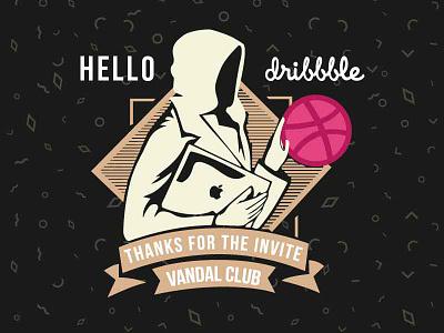 Hello Dribbble!!! hood vector vandal illustration dribbble hello
