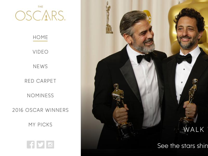 Oscars Homepage Concept design ui oscars responsive web