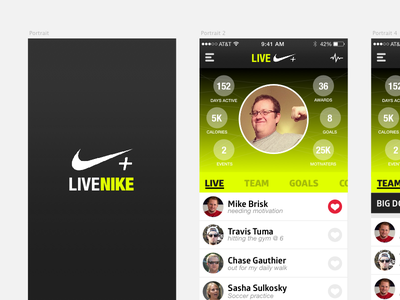 Live Nike+ idea sketch social ux ui mobile nike