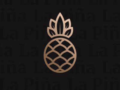 La Piña restaurant pineapple logos logo design logotype illustration vector branding logo design