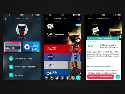Coupons app ux ui promo iphone design coupons concept color screen app