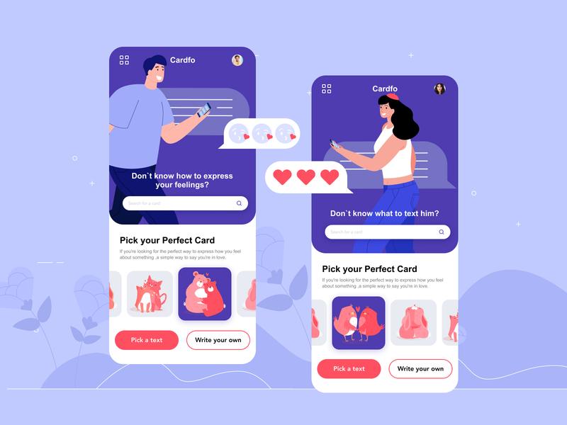 Valentine card app instagram banner shot design shop web ui  ux design dribbble
