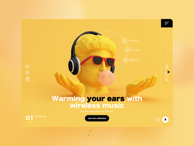 Headphones Music figma ancient greek head sculpture banner shop headphones ui  ux design dribbble