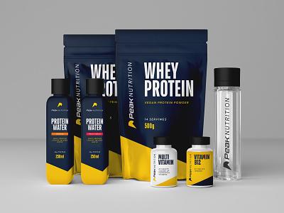 Peak Nutrition Packaging Design logo design supplements logo nutritionist peak vitamins fitness club fitness logo gym logo gym brand gym athletics workout protein protein powder nutrition fitness app fitness athlete