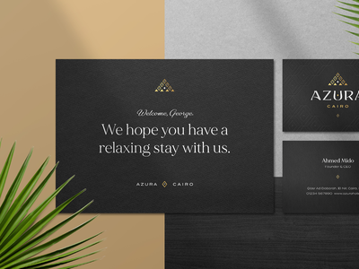 Luxury Hotel Branding - Azura Cairo welcome hotel stationery pyramid logo egyptian cairo egypt pyramids stationery hotel brand hotel branding hotel logo luxury branding luxury stationery luxury logo luxury hotel branding brand behance