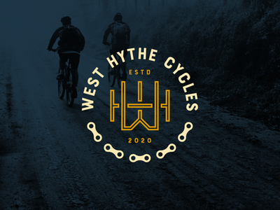 West Hythe Cycles Logo Design badge logo cyclist hythe wh monogram monogram h w wh logo auto repair auto logo repair shop bicycle shop bicycle logo bikes bike bike shop cycling logo bicycle cycles cycling