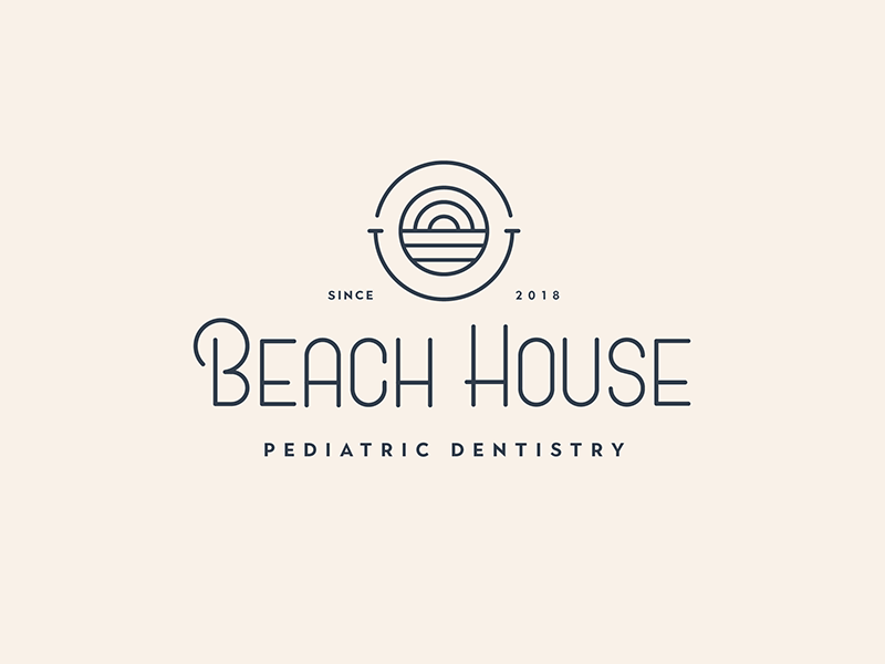 Beach House Pediatric Dentistry teeth happy pediatric dentist california dentistry logo design branding identity logo
