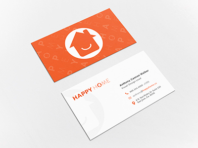 Business cards for The Happy Home Company typography stationery print logo identity business cards branding