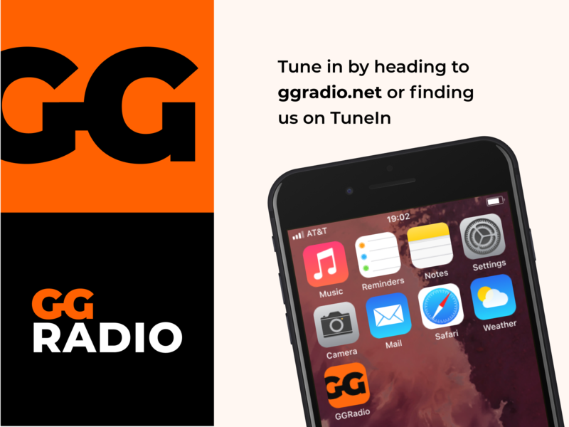 GGRadio Online Radio Branding (5 Year Anniversary Redesign) music radio app icon logo advertising flat branding vector light modern design clean