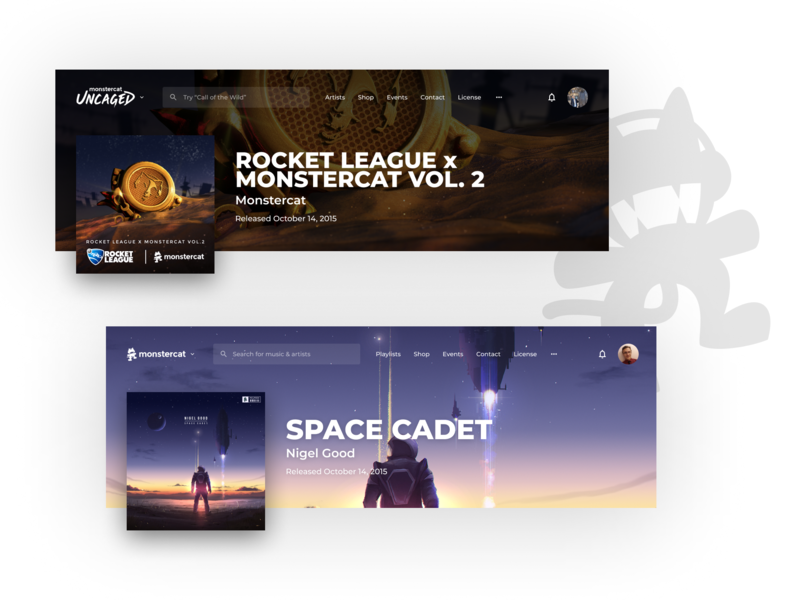 Music Site Hero (Monstercat.com Web Concept) hero music app app concept concept app music ux typography ui modern design compact clean