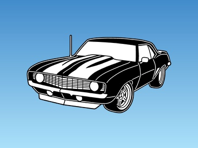 Camaro Illustration stencil vector illustration car camaro chevy auto