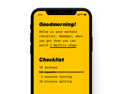 Daily UI Day 041 — Workout Tracker yellow daily ui ui workout tracker workout
