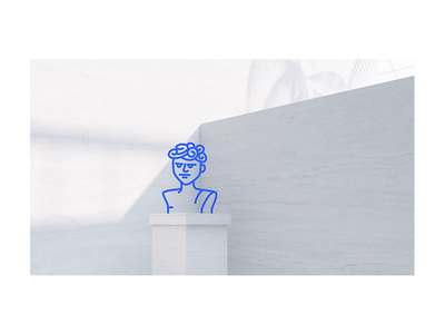 Website Illustration — Mildly Upset Bust contrast black and white pylon animations blue lines website illustration illustration website bust
