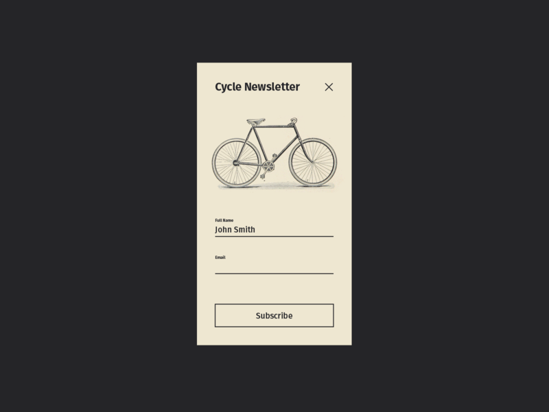 Daily UI Day 082 — Form ux illustration design newsletter form bike old school retro lines daily dailyui daily ui ui