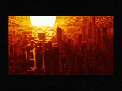 Cityscape Render rendering oranges reds cityscape city retro sunset orange 3d render