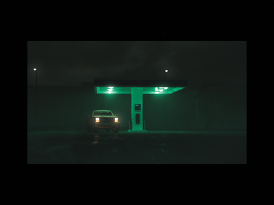 Self Service — Render truck render moody green gas station fog dark atmospheric art