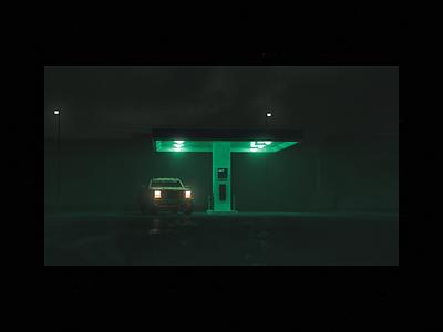 Self Service — Render truck render moody green gas station fog dark atmospheric art