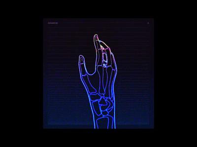 X-Ray Hand — Album Cover Design hand design retro 80s glow neon x-ray album artwork album cover artwork album art album cover design album cover