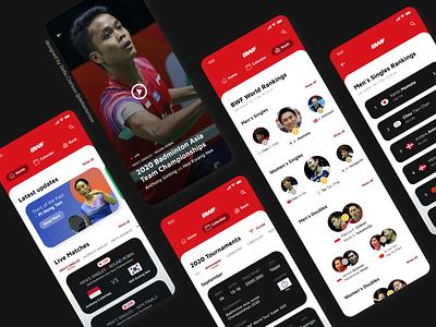 Sports Match App - Overview - Badminton World Federation sports sports design indonesia leaderboard video player video badminton sport ux app uiuxdesign challenge uidesign ui design