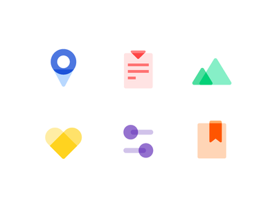Icon_MD style material design md list set pin message mail love light illustration icon clock