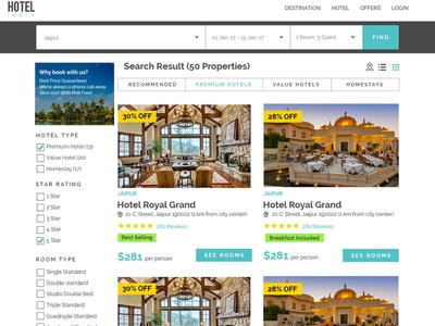 Hotel Classified Website - Search Result Page flat design web minimal hotel booking website ux uiux ui web design