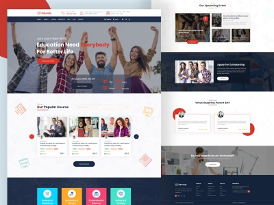 Education Template Design vector typography mobile app ux ui illustration branding redesign web design landing