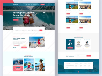 Travel Agency Website Design logo branding vector package design tour typography activity layout redesign web design travel agency landing