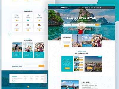 Travel Agency Website Design (HomePage-2) template tour activity typography travel agent vector logo illustration website template ux ui layout redesign web design website concept
