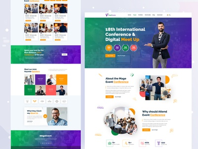 MageEvent-Event Landing Page Template top designer creative design branding layout ux design 2020 event trendy design meetup redesign web design template events interaction design international conference