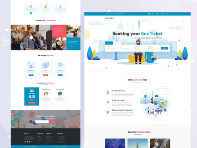 Bus Ticket Booking Template colorful design treading design 2020 branding ui ux web design landing ticket booking ticket bus