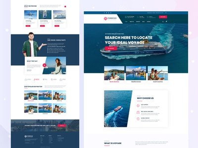 Lunch & Ferry Landing Page Concept mobile app redesign branding blue red color homepage design voyage typography layout web design landing