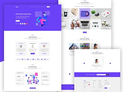 Personal Portfolio Landing Page web ui type slack parallax layout landing hero design app